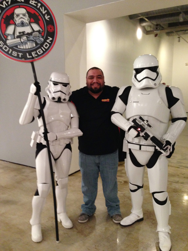 Apple De La Fuente and members of the 501st at Star Wars: The Force of Art in San Antonio.