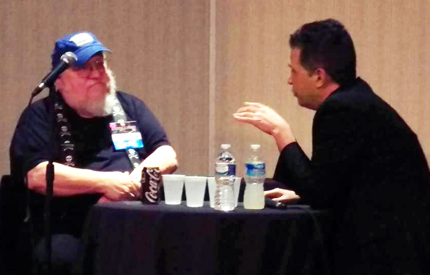 "GRRM and me during the onstage ""Conversation"" event. That was fun. :)"